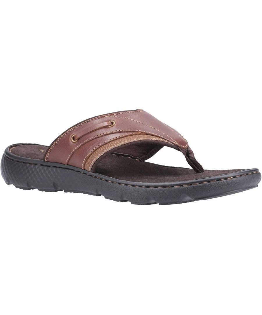 Image for Hush Puppies Mens Connor Leather Flip Flop (Brown)