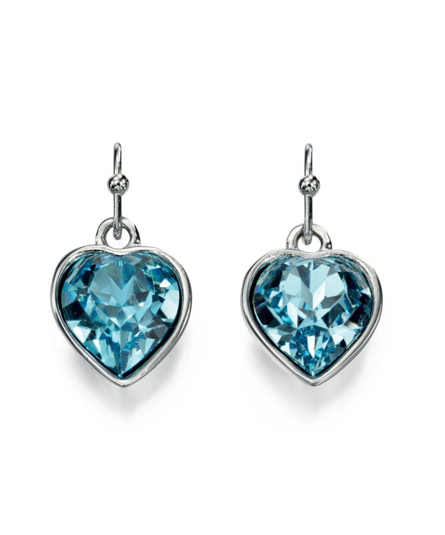 Image for Fiorelli Fashion Imitation Rhodium Plated Blue Crystal by Swarovski Heart Hook Earrings