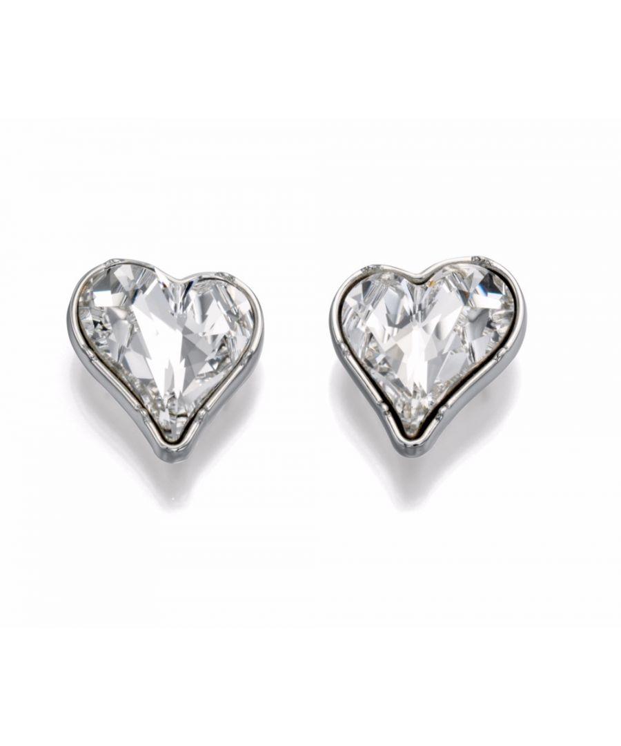 Image for Fiorelli Fashion Imitation Rhodium Crystal by Swarovski Heart Stud Earrings