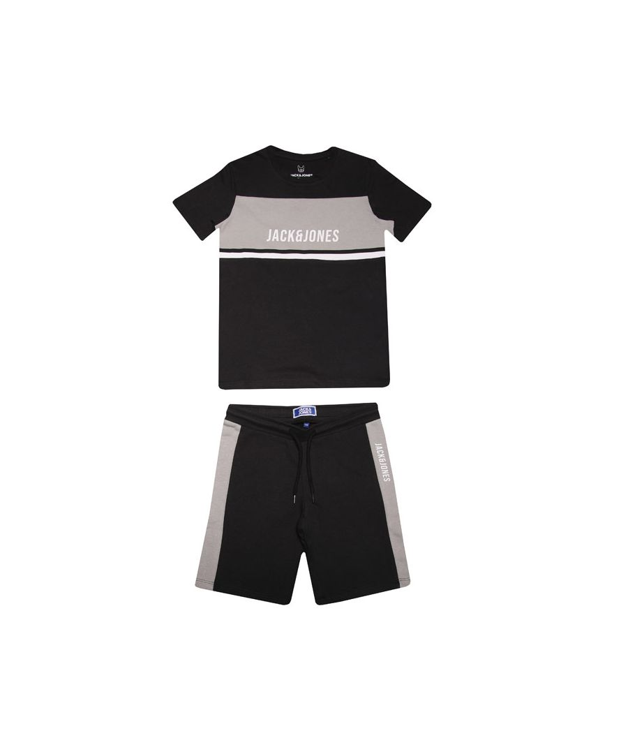 Image for Boys' Jack Jones Junior Block T-Shirt & Short Set In Black