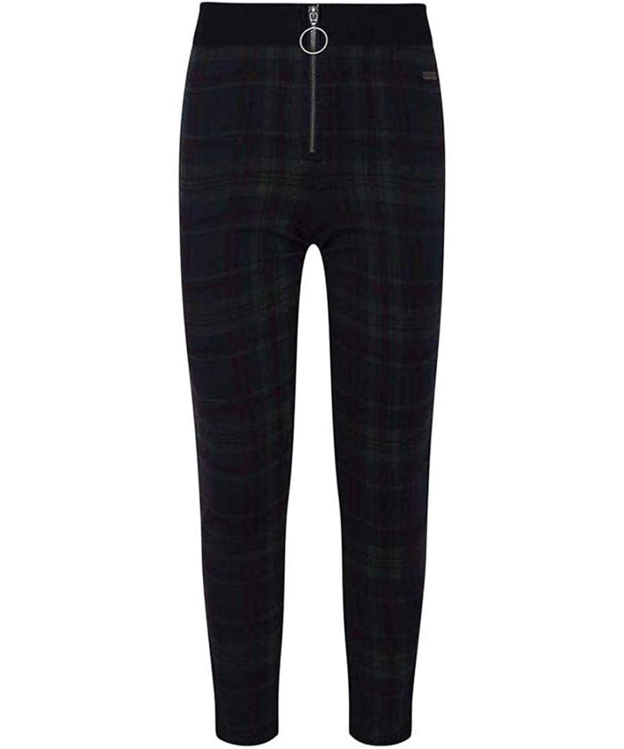 Image for Pepe Jeans Girls Zip Up Gingham Leggings in Black