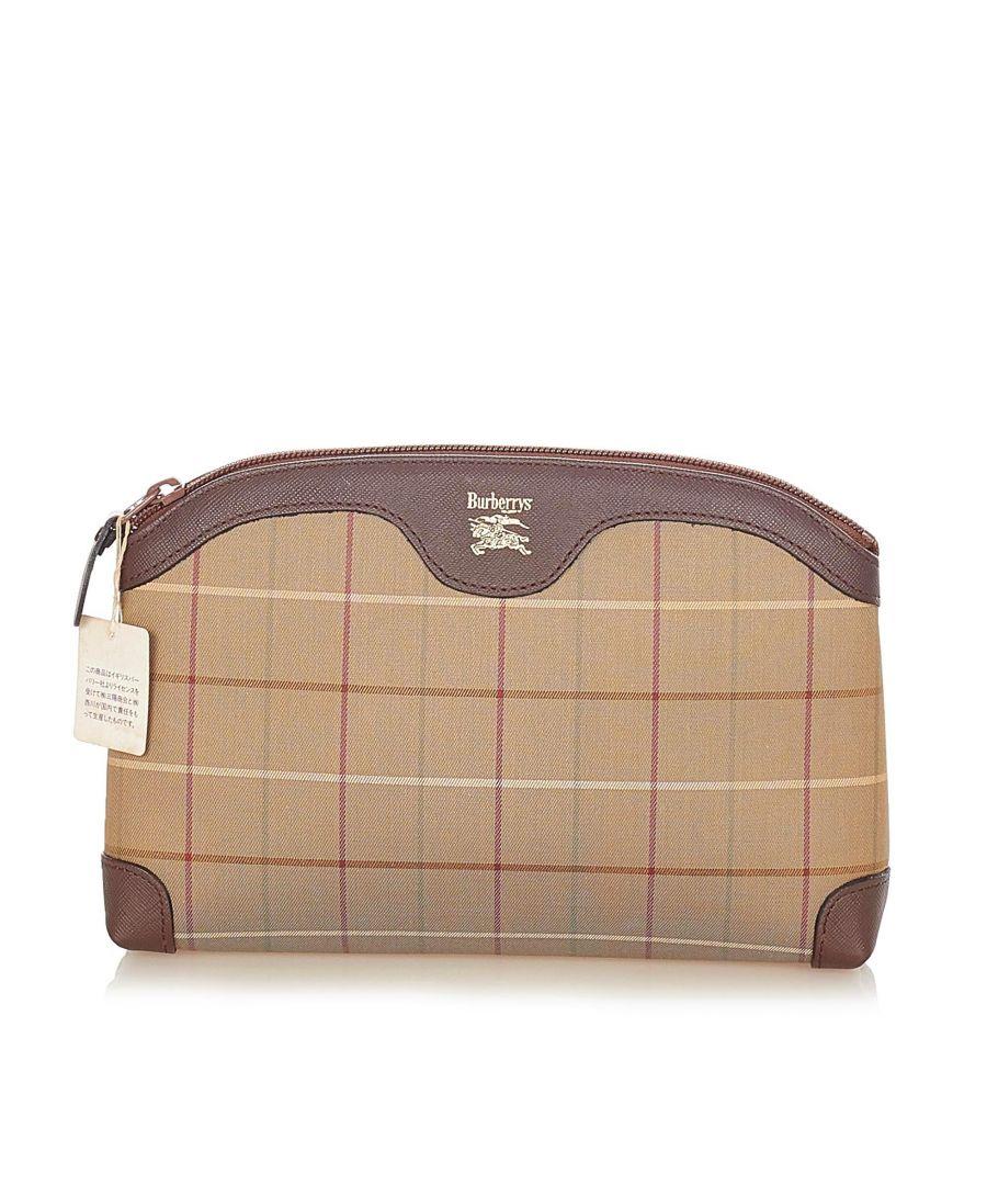 Image for Vintage Burberry Plaid Canvas Clutch Bag Brown