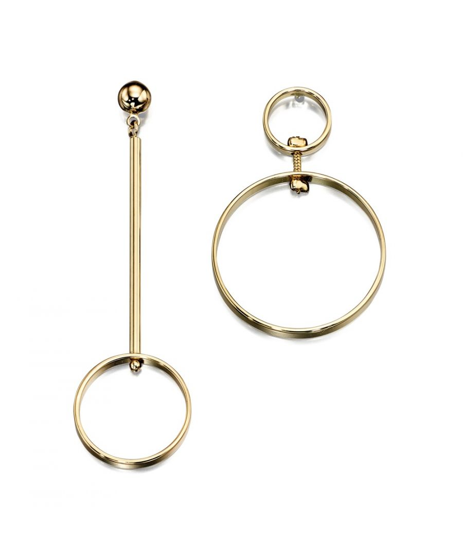 Image for Fiorelli Fashion Gold Plated Open Circle Mismatch Asymmetric Earrings