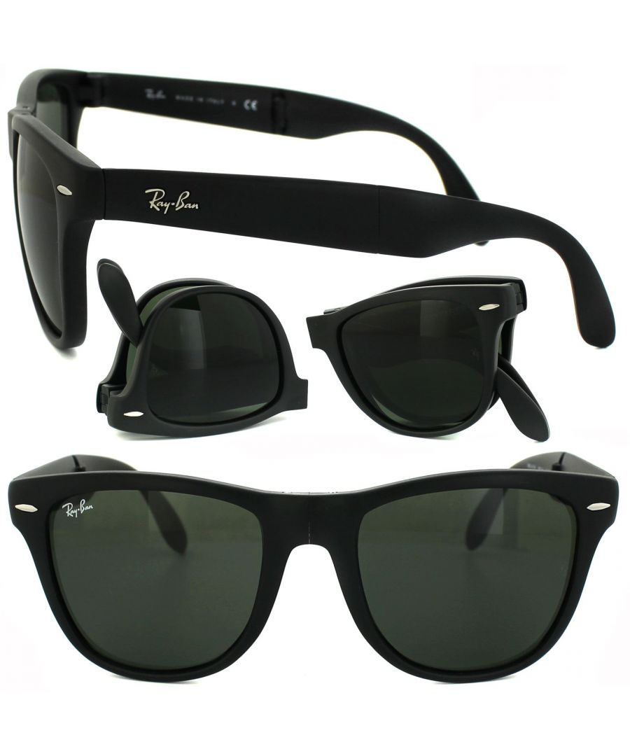 Image for Ray-Ban Sunglasses Folding Wayfarer 4105 Matt Black Green 601S 54mm