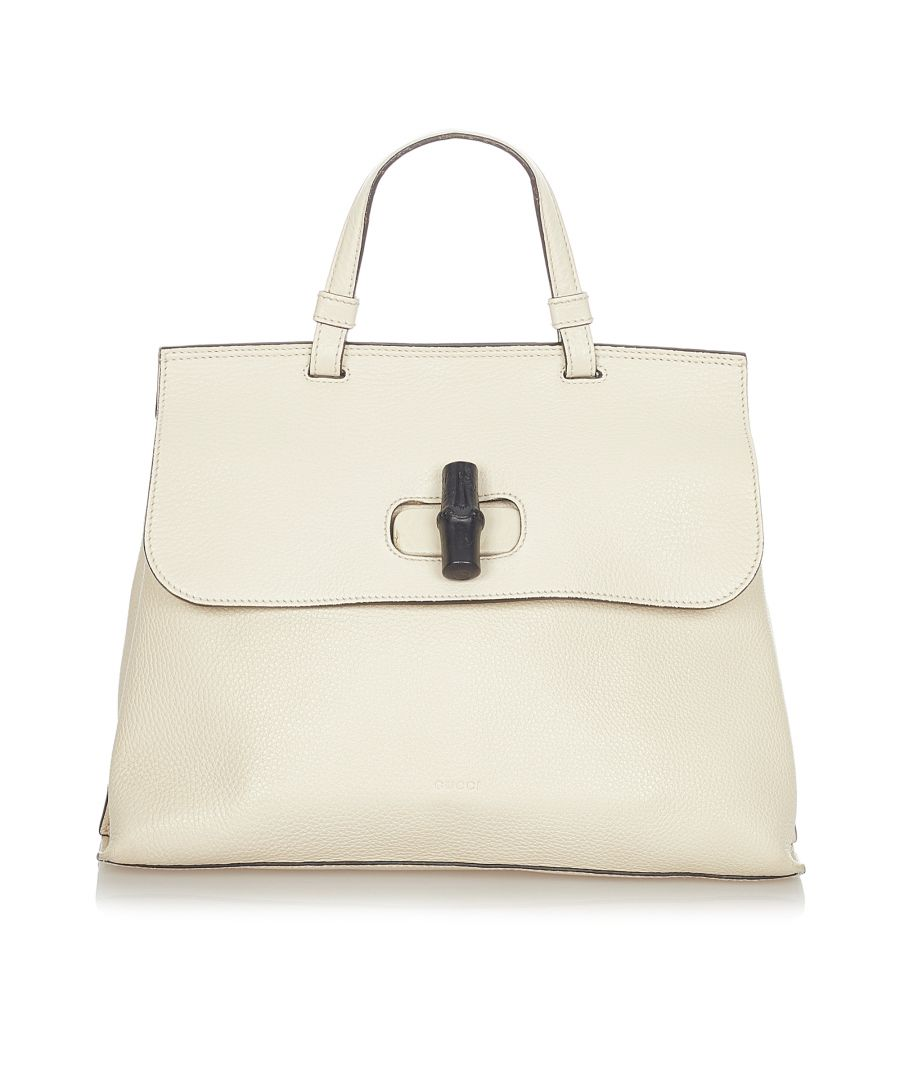 Image for Vintage Gucci Bamboo Daily Leather Satchel White