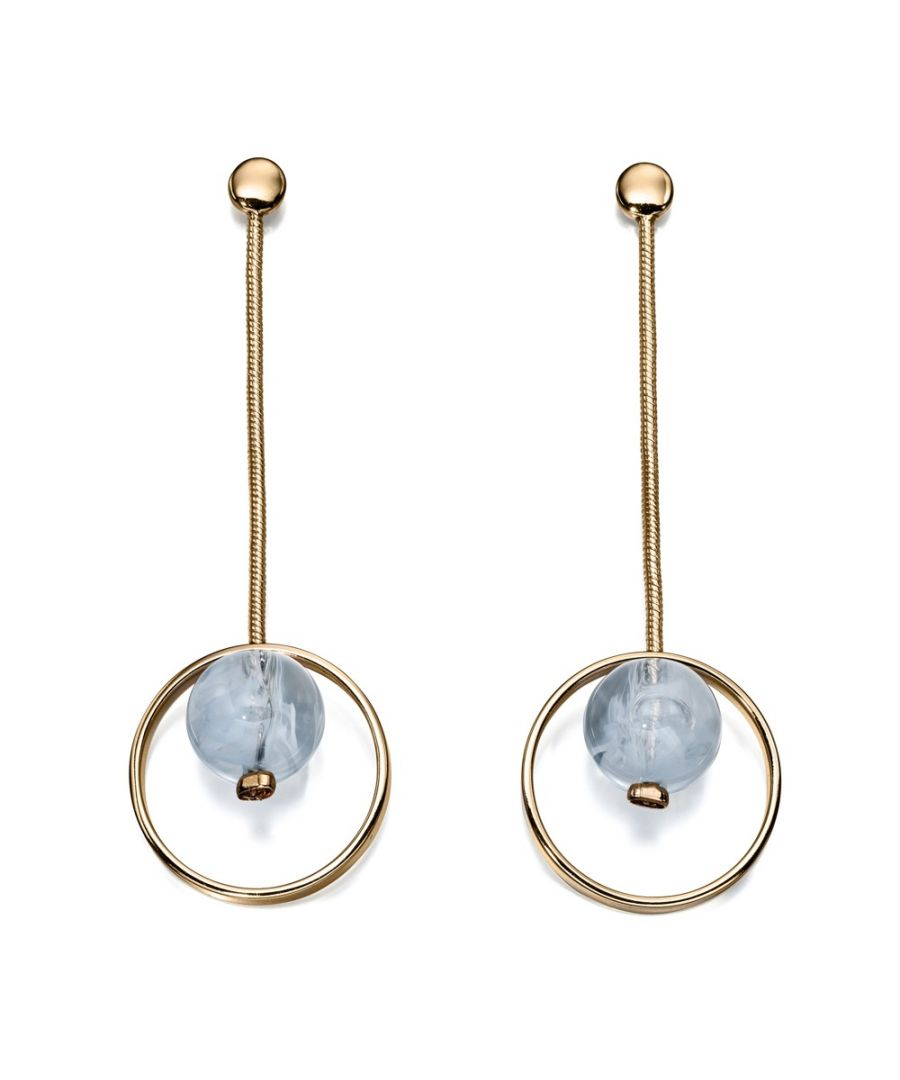 Image for Fiorelli Fashion Gold Plated Blue Hanging Stone Dangle Earrings