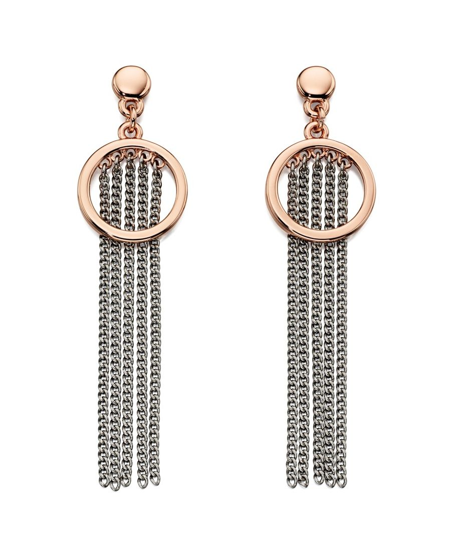 Image for Fiorelli Fashion Rose Gold & Imitation Rhodium Plate Cascade Chain Drop Earrings