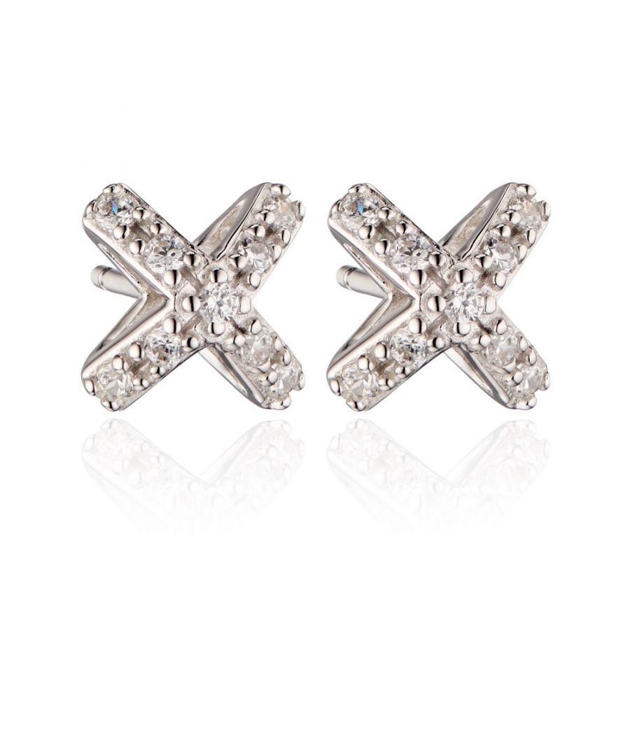 Image for Fiorelli Silver Womens 925 Sterling Silver 3D Cubic Zirconia Cross / X Shape Stud Earrings