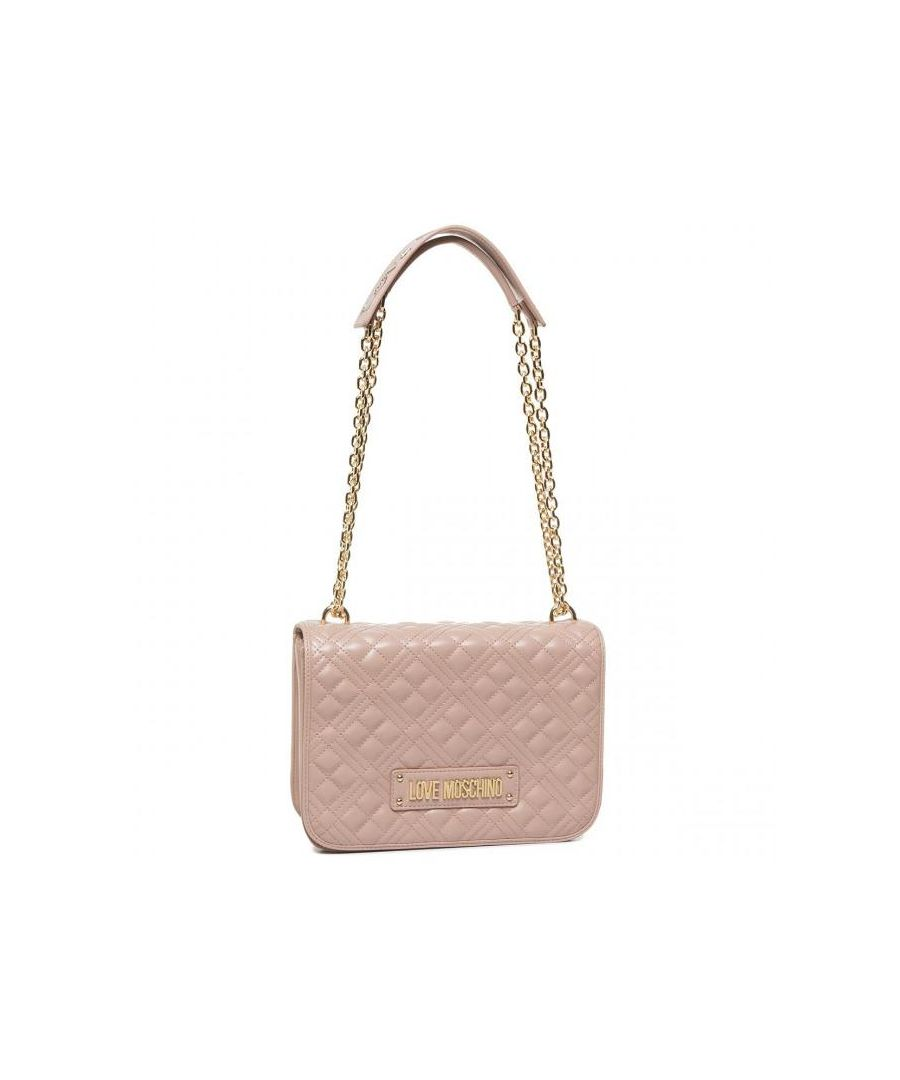 Image for Love Moschino Large Quilted Crossbody with LOVE MOSCHINO Strap in Pink