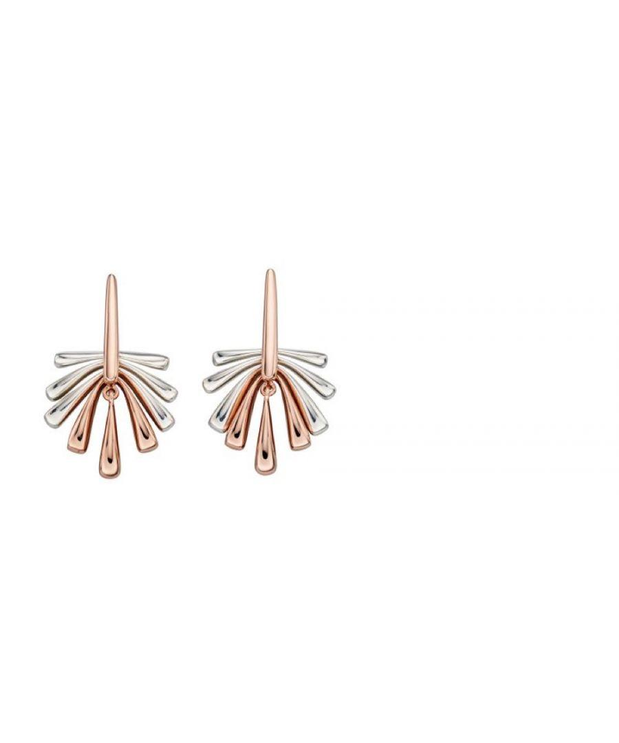 Image for Elements Silver Womens 925 Sterling Silver & Rose Gold Fan Shape Dangle Stud Earrings E5539