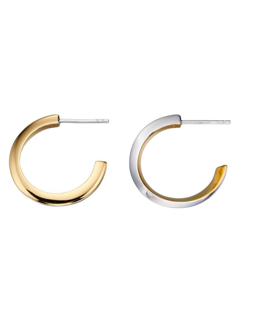 Image for Fiorelli Silver Womens 925 Sterling Silver & Gold Plate Twist Half Hoop Earrings