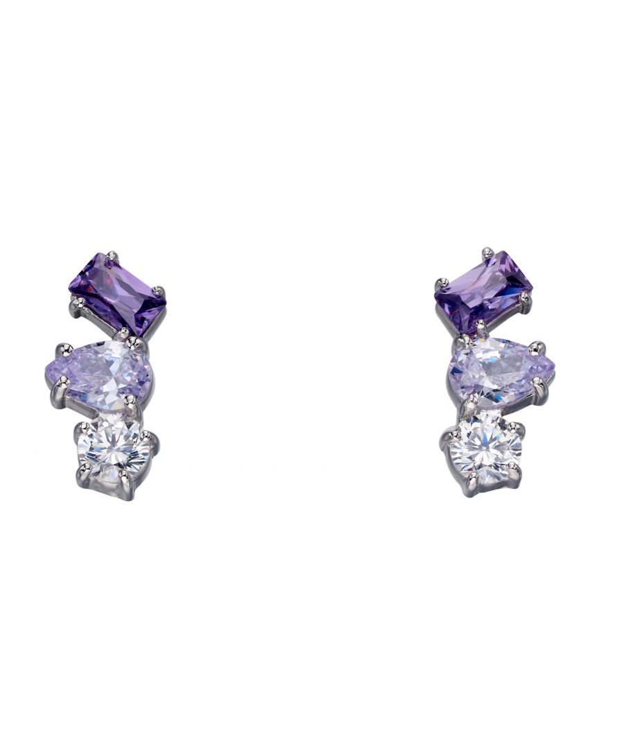 Image for Fiorelli Silver Womens 925 Sterling Silver Purple & Lilac Cubic Zirconia Multi Shape Stud Earrings