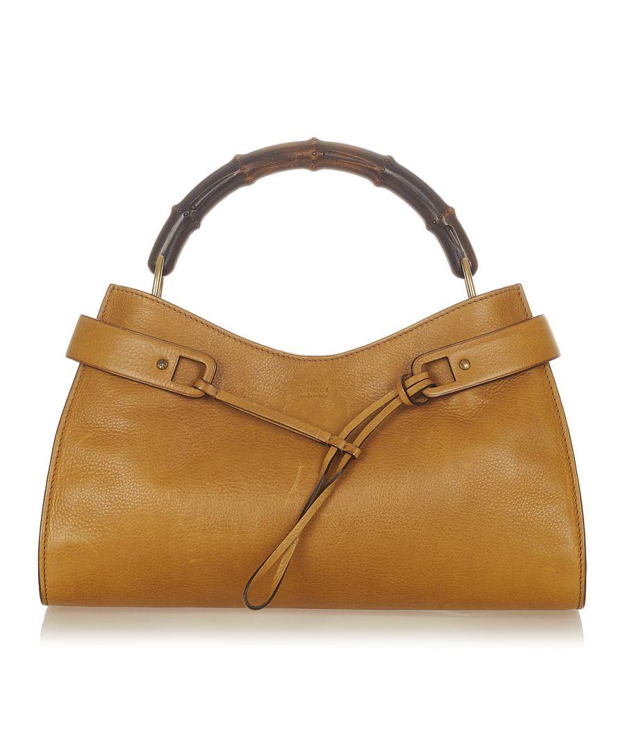 Image for Vintage Gucci Bamboo Leather Handbag Brown