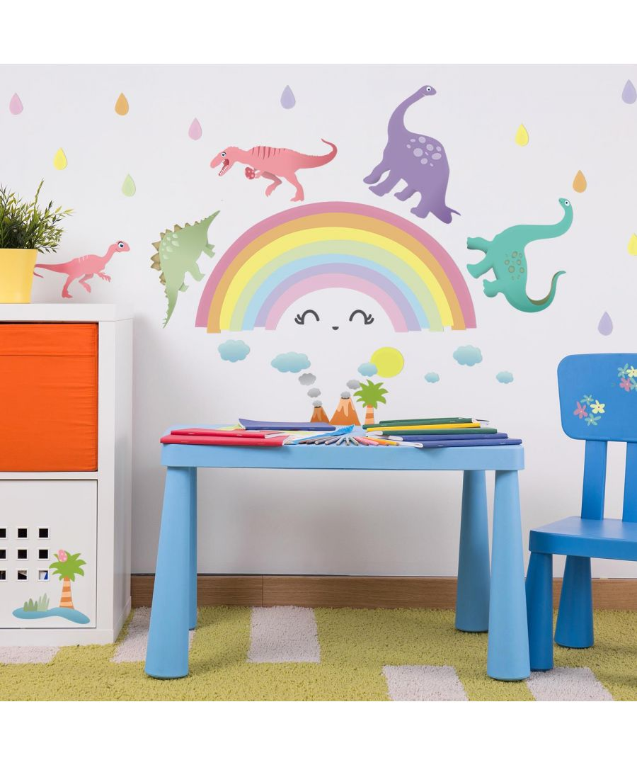 Image for Colourful Rainbow Happy Dinosaurs  Wall Stickers Kids Room, nursery, children's room, boy, girl