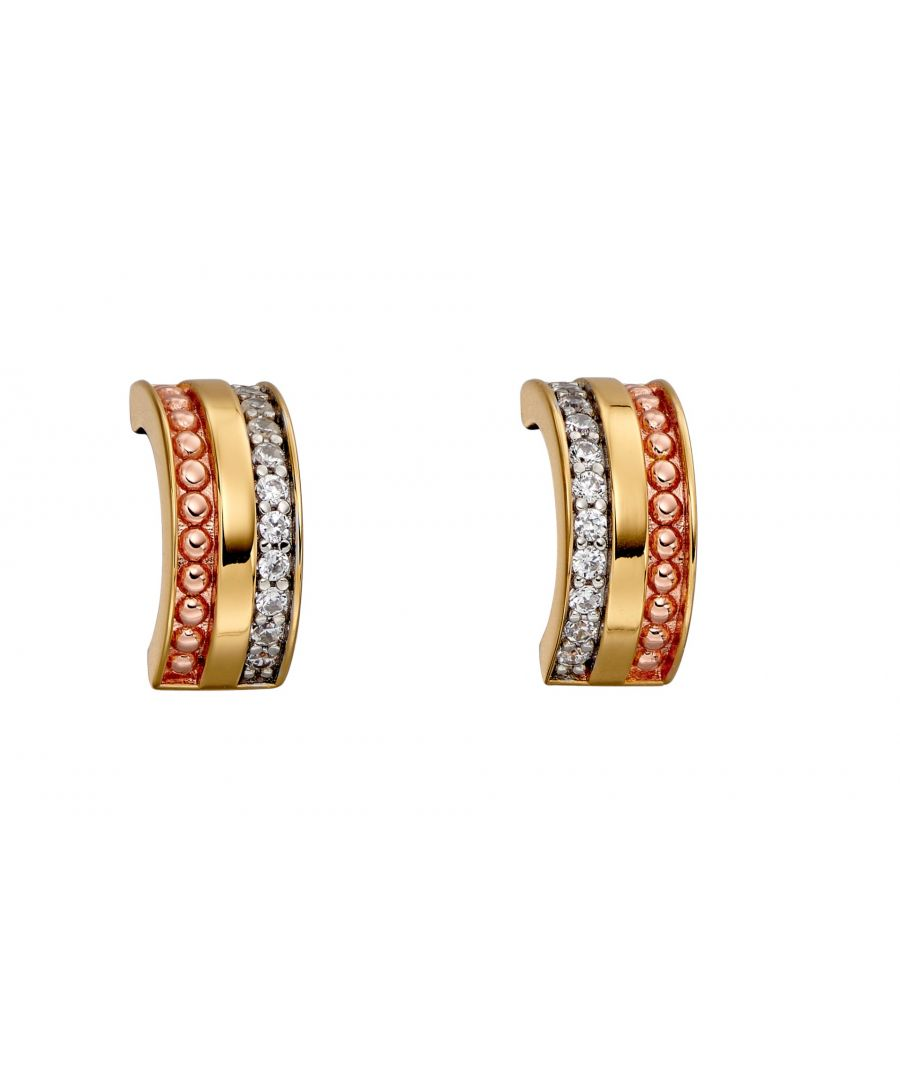 Image for Fiorelli Silver Womens 925 Sterling Silver, Yellow & Rose Gold Plating Cubic Zirconia Barrel Half Hoop Earrings