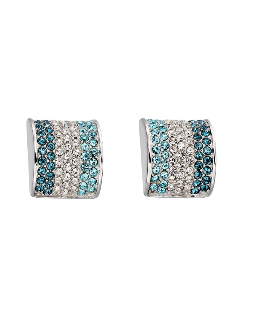 Image for Fiorelli Silver Womens 925 Sterling Silver Blue Shades Preciosa Crystal Stud Earrings