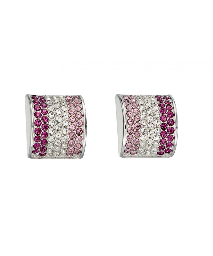 Image for Fiorelli Silver Womens 925 Sterling Silver Purple & Pink Shades Preciosa Crystal Stud Earrings