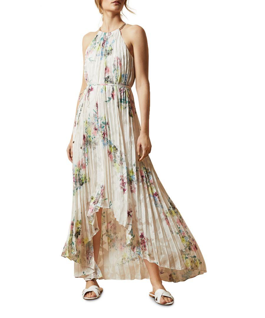 Image for Ted Baker Threlin Pergola Pleated Dip Hem Dress, Ivory