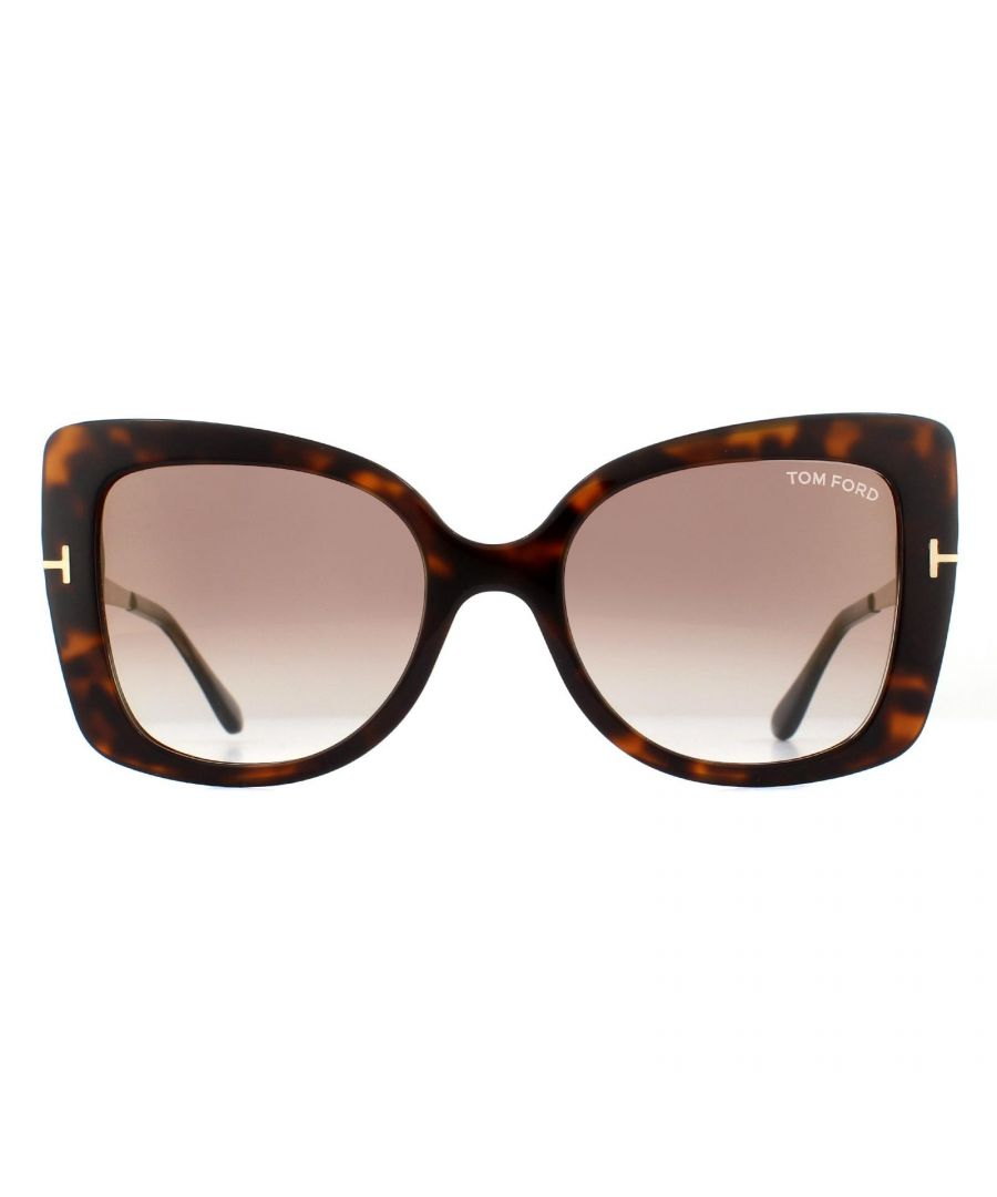 Image for Tom Ford Sunglasses Gianna FT0609 52G Havana and Gold Brown Gradient