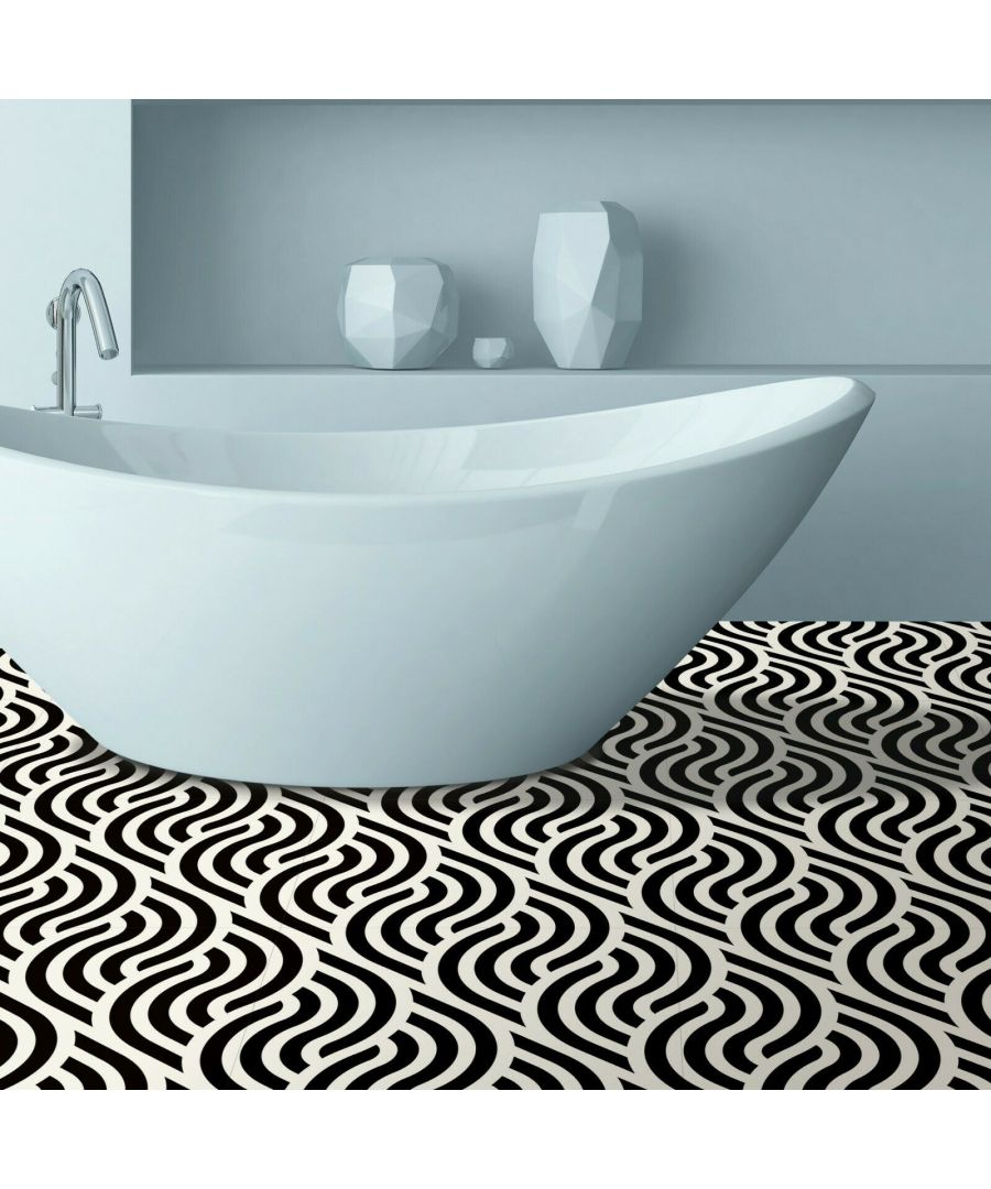 Image for Large-scale Abstract Flowing Lines Pattern Floor Stickers 120cm x 60 cm, Kitchen, Bathroom, Living room, Self-adhesive