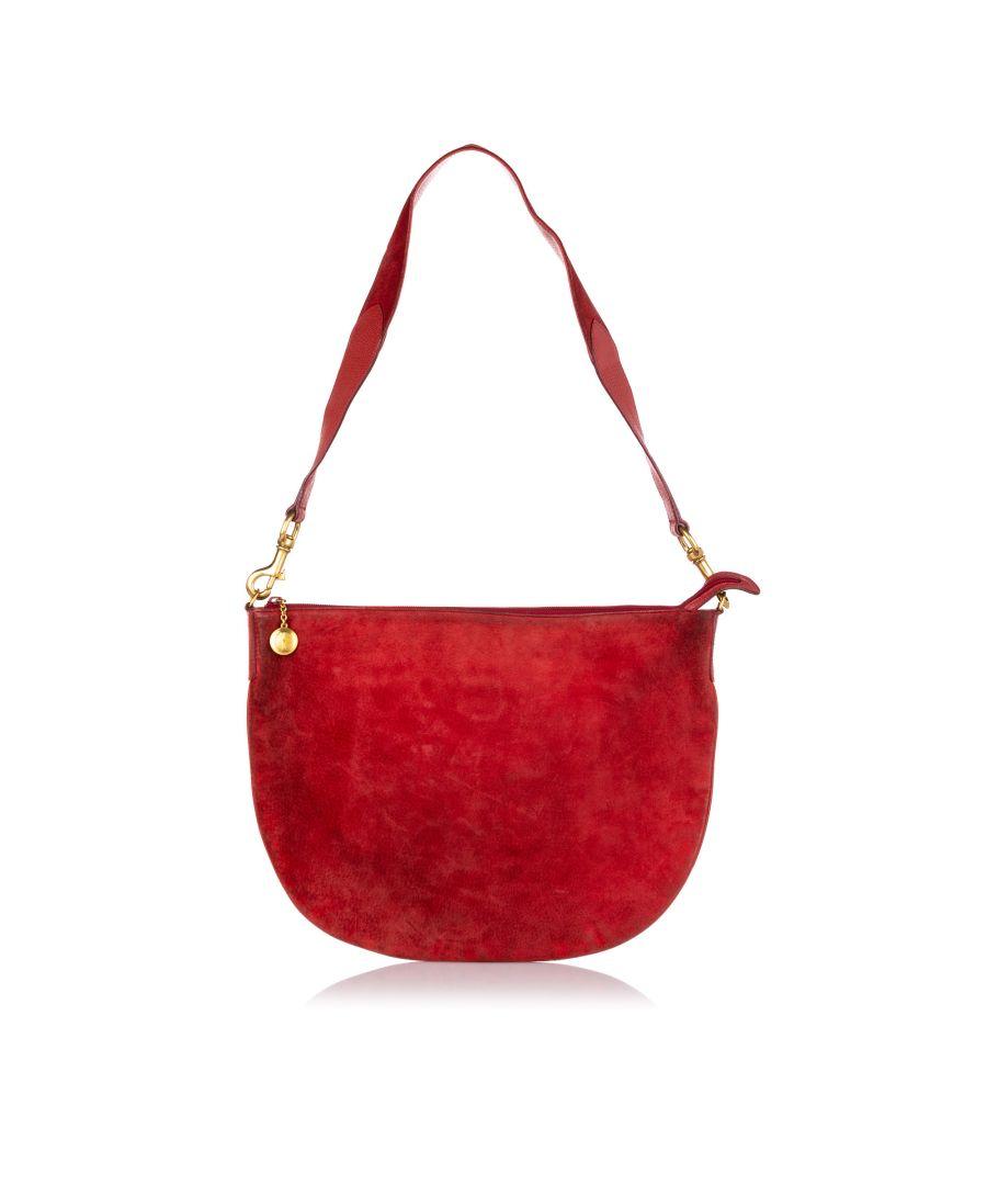 Image for Vintage Gucci Suede Hobo Bag Red