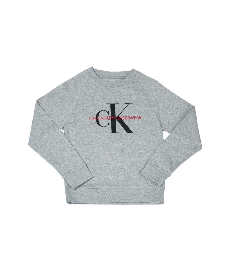 Image for Boys' Calvin Klein Junior Logo Crew Sweatshirt Grey Heather 8-10in Grey Heather