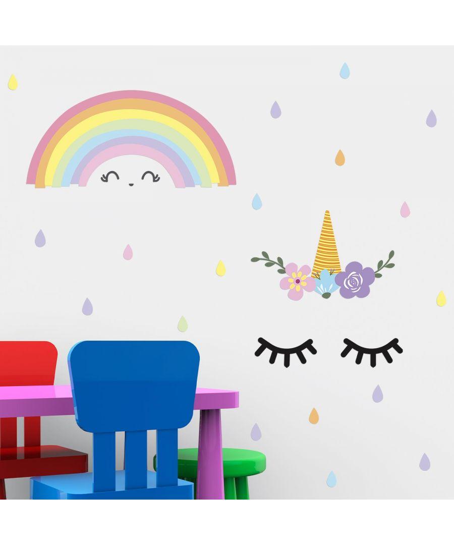 Image for Sleeping Unicorn And Rainbow Wall Stickers Kids Room, nursery, children's room, boy, girl