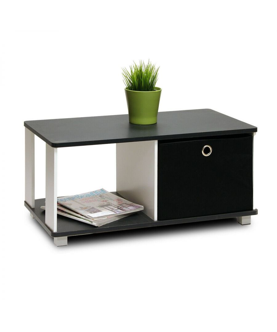 Image for Furinno Coffee Table with Bin Drawer - Black & White
