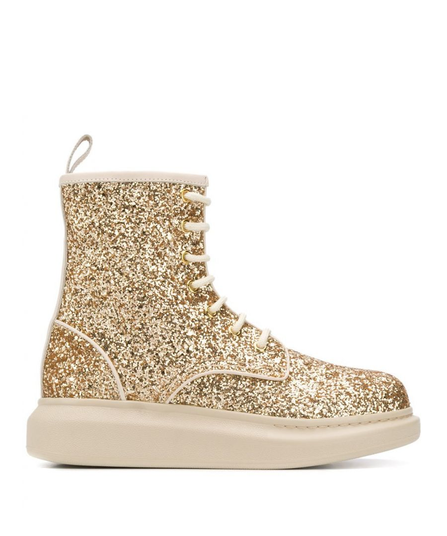 Image for ALEXANDER MCQUEEN WOMEN'S 586394W4EY68034 GOLD GLITTER ANKLE BOOTS