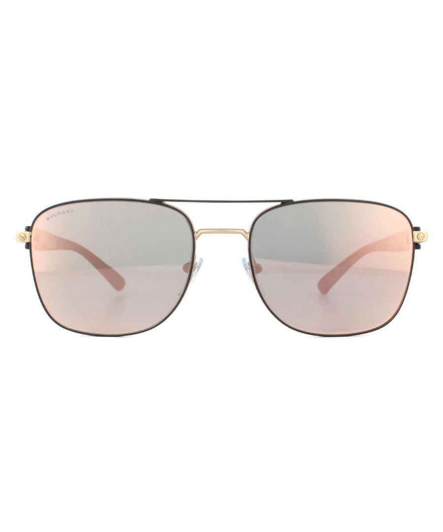 Image for Bvlgari Sunglasses BV5050 20134Z Matte Black and Matte Rose Gold Rose Gold Mirror