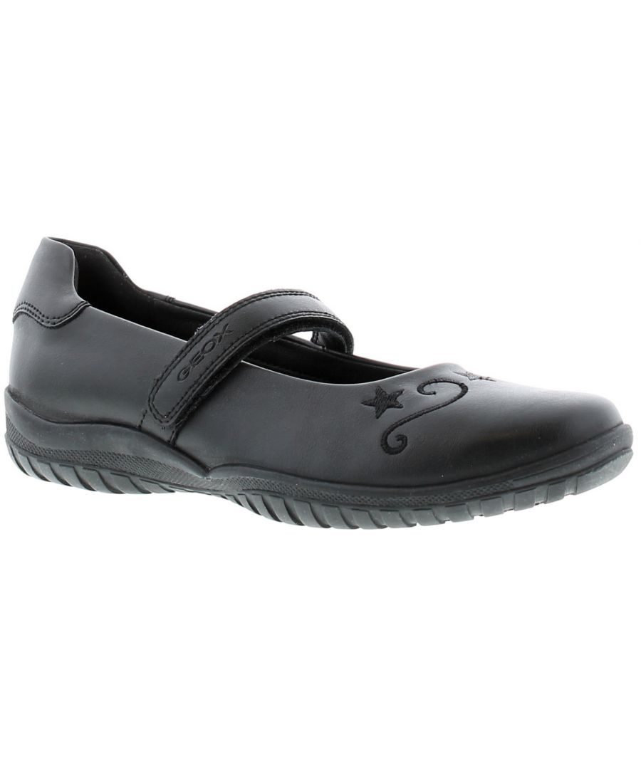 Image for Girls Geox Shadow Synthetic Upper School Shoes With Rip Tape Fastening Breathable And Waterproof Mem