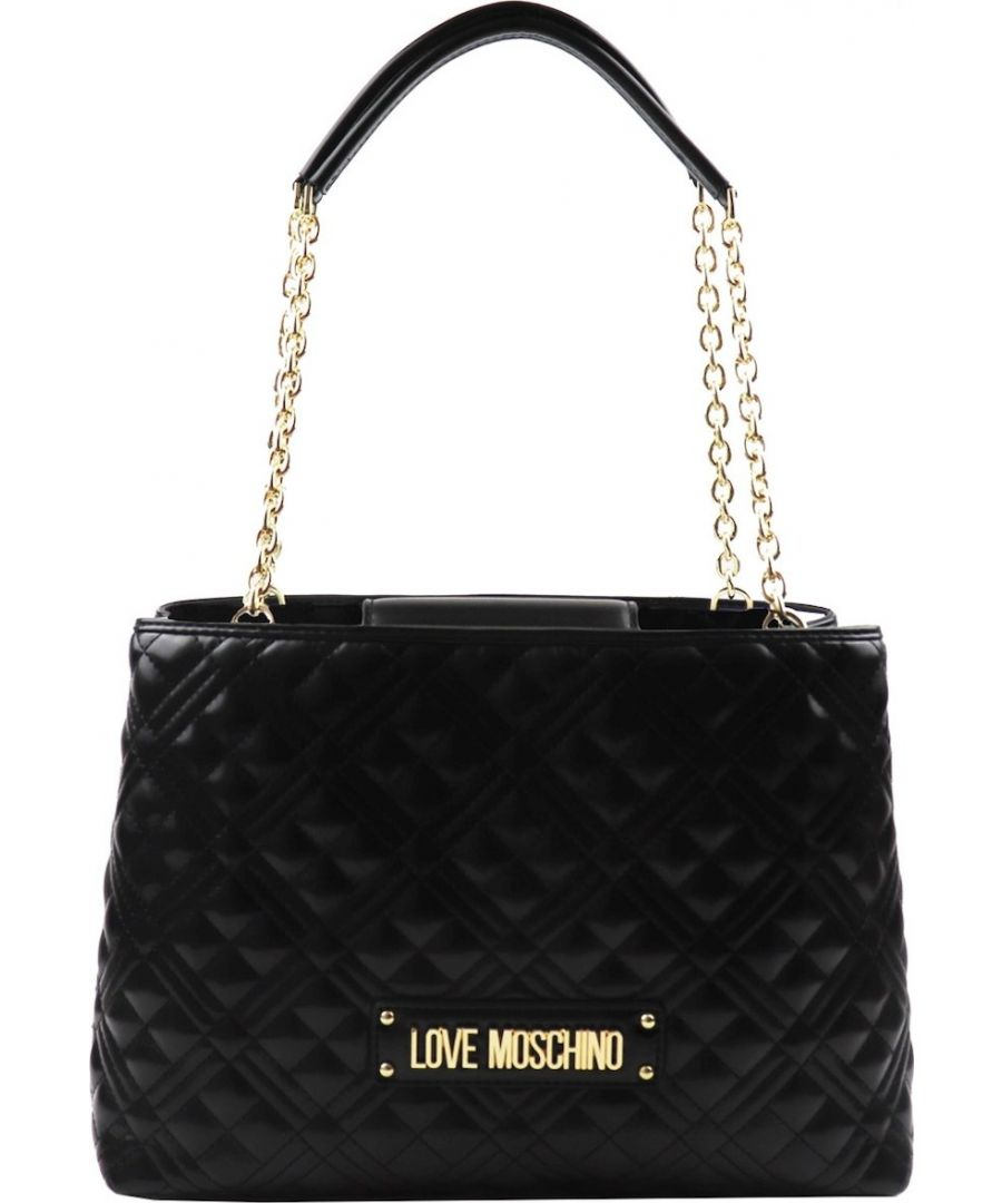 Image for Love Moschino Quilted Laminated Shopper Shoulder Bag in Black