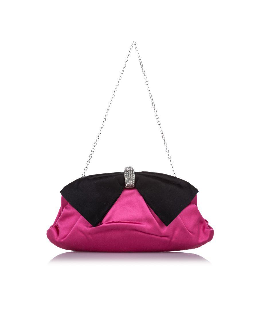 Image for Vintage Valentino Crystal Embellished Bow Clutch Bag Pink