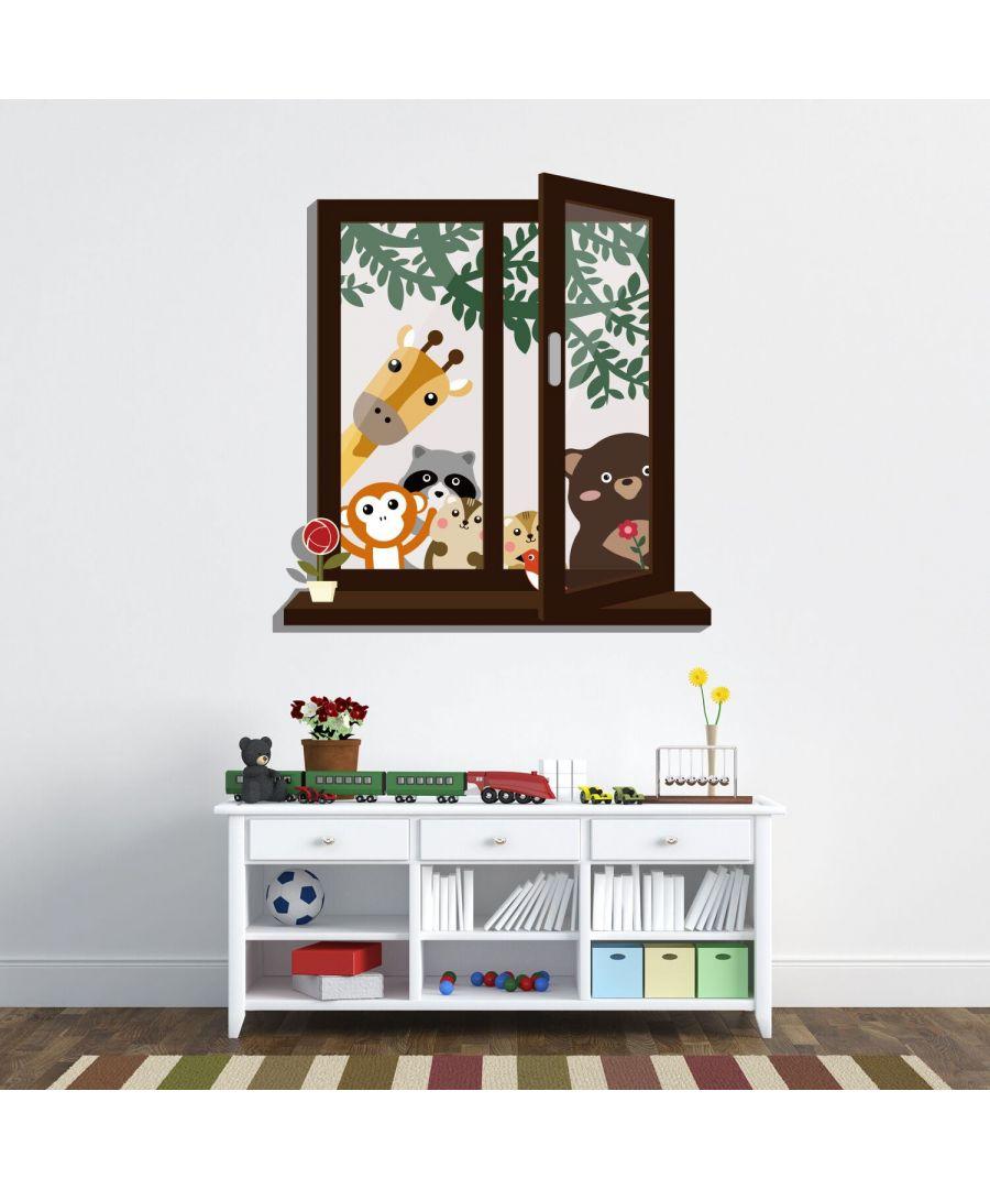 Image for Window View of Animal Friends Wall Stickers Kids Room, nursery, children's room, boy, girl 67 cm x 70 cm