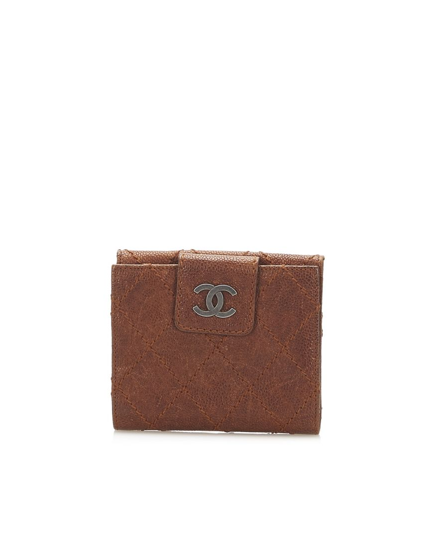 Image for Vintage Chanel Wild Stitch Leather Small Wallet Brown