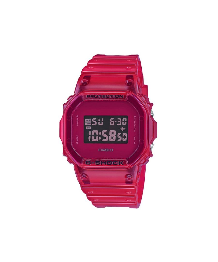 Image for Casio G-Shock Mens DW-5600SB-4ER Red Retro Resin Strap Watch