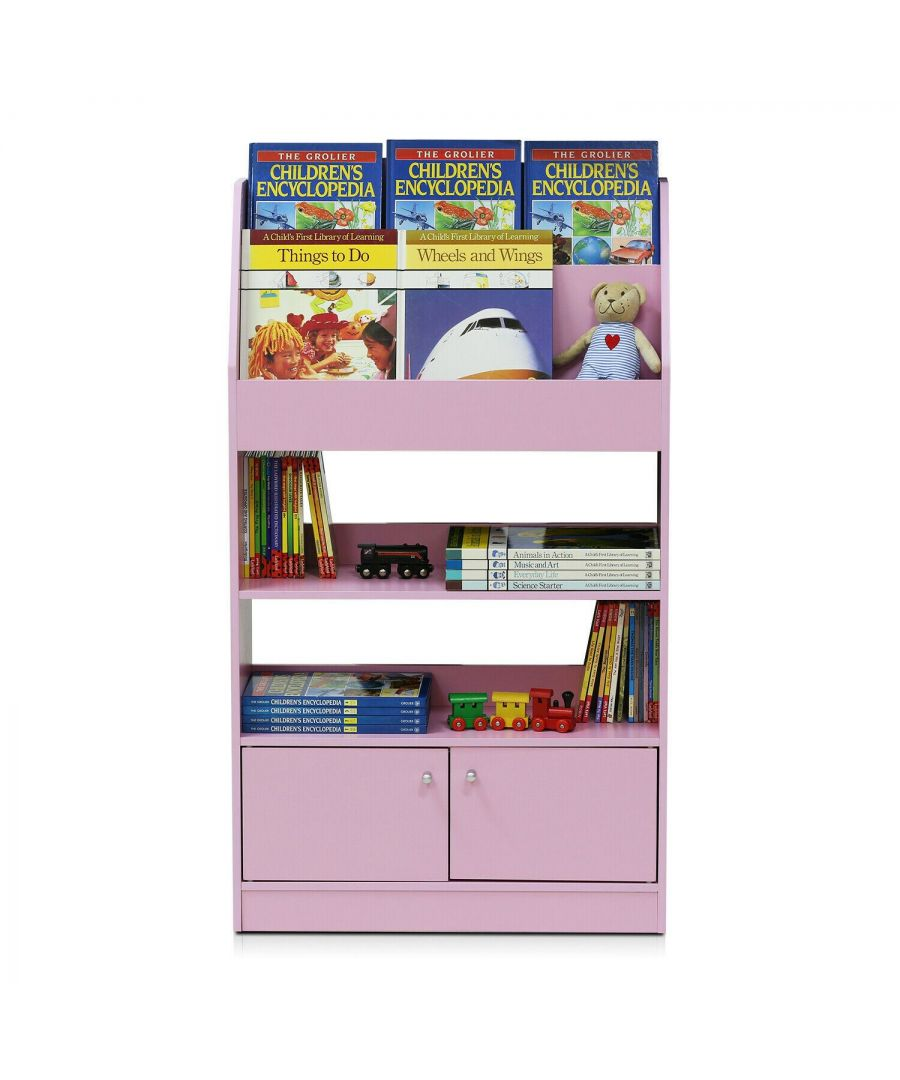 Image for Furinno Kidkanac Magazine/Bookshelf with Toy Storage Cabinet - Pink
