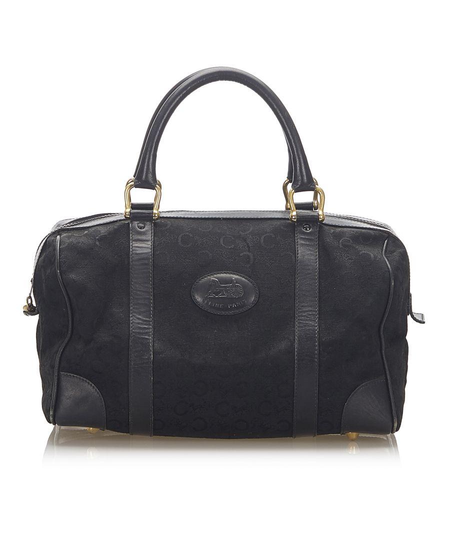 Image for Vintage Celine C Macadam Canvas Boston Bag Black