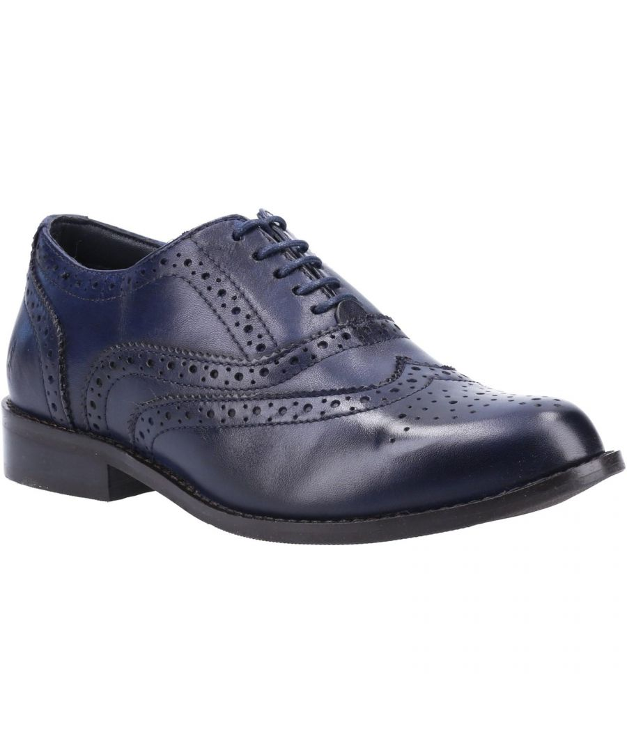Image for Hush Puppies Women's Natalie Lace Up Leather Brogue Shoe (Navy)