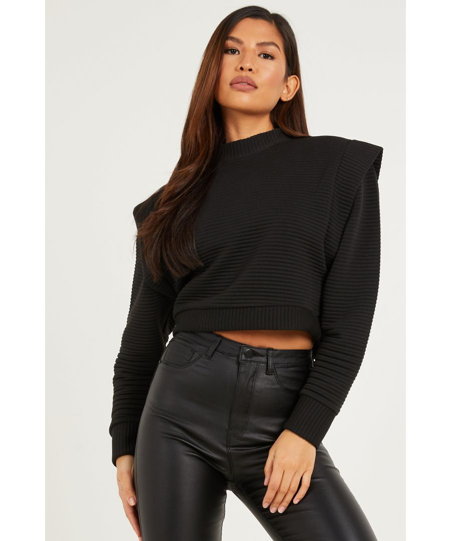 Image for Black Quilted Ribbed Jumper