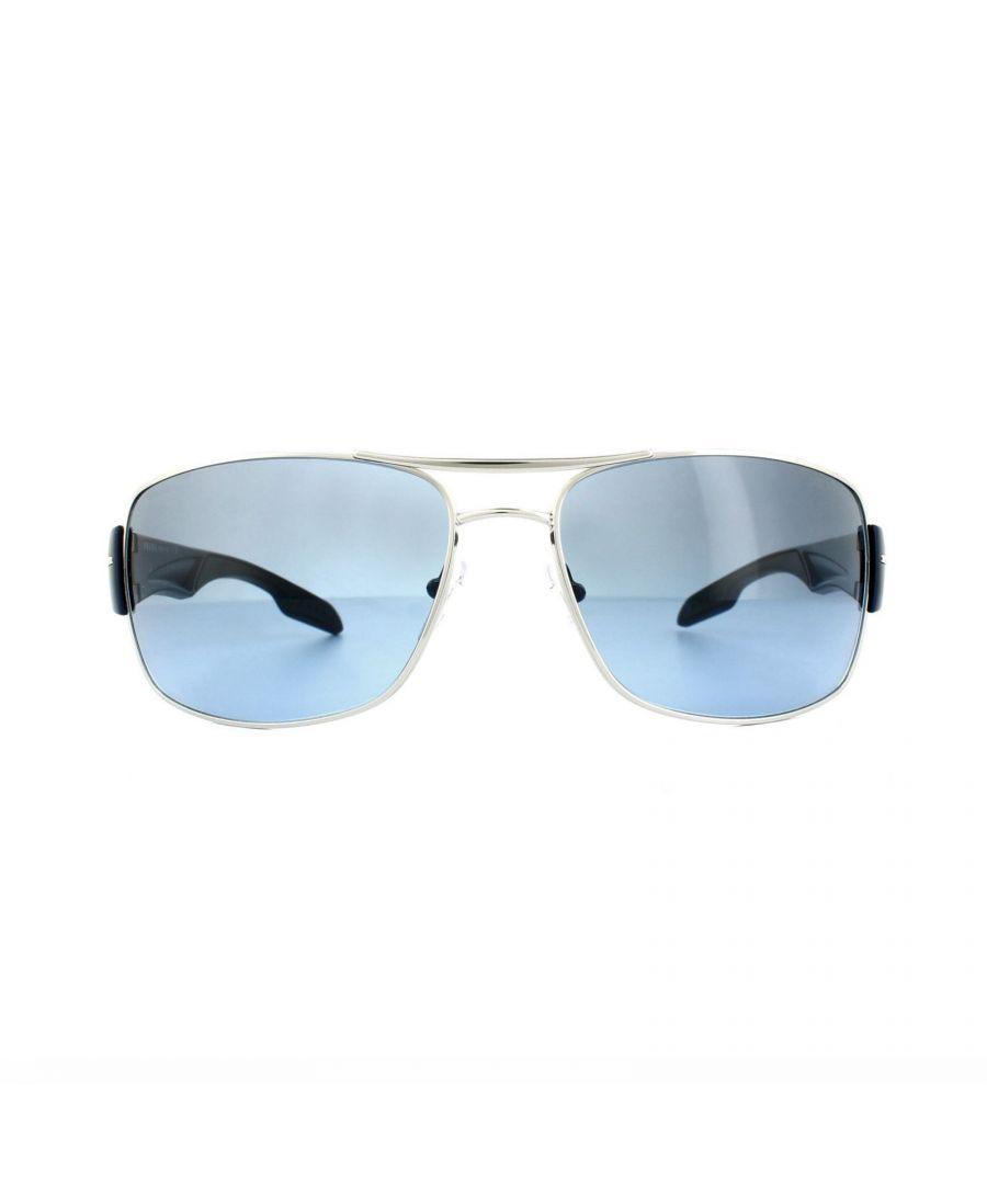 Image for Prada Sport Sunglasses 53NS 1BC5I1 Silver Blue Smoke Blue Gradient