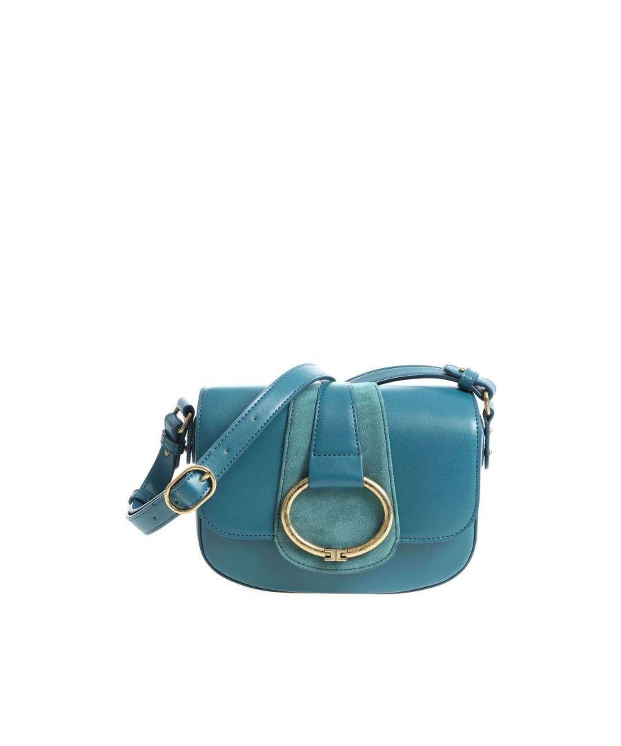 Image for ELISABETTA FRANCHI WOMEN'S BS52A87E2804 BLUE FAUX LEATHER SHOULDER BAG