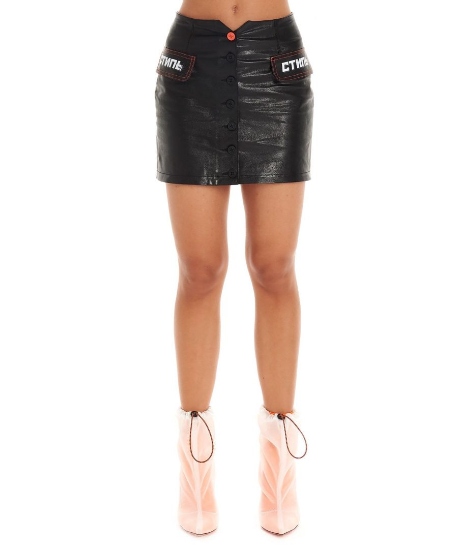 Image for HERON PRESTON WOMEN'S HWJC001E198320111001 BLACK LEATHER SKIRT