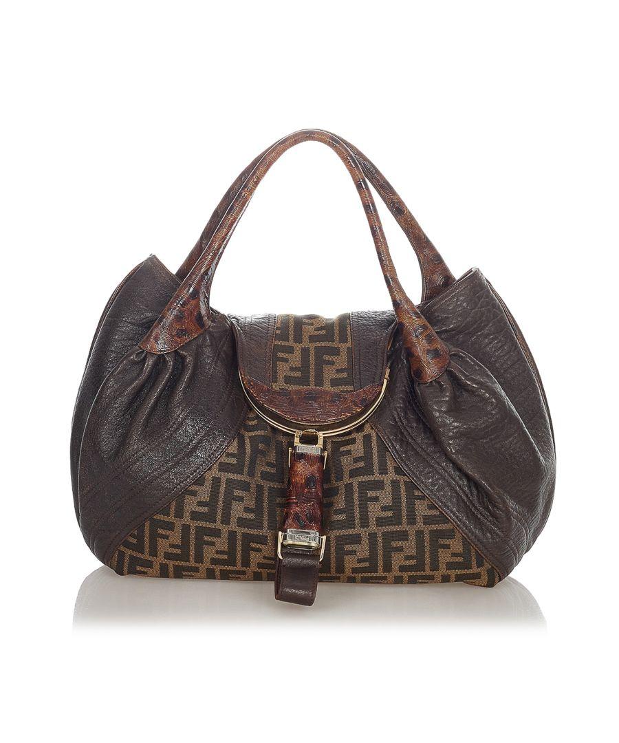 Image for Vintage Fendi Zucca Spy Canvas Handbag Brown