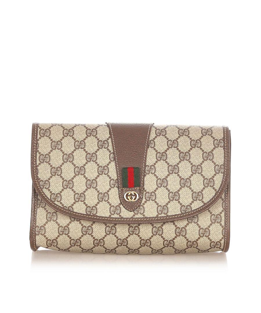 Image for Vintage Gucci GG Supreme Web Clutch Bag Brown