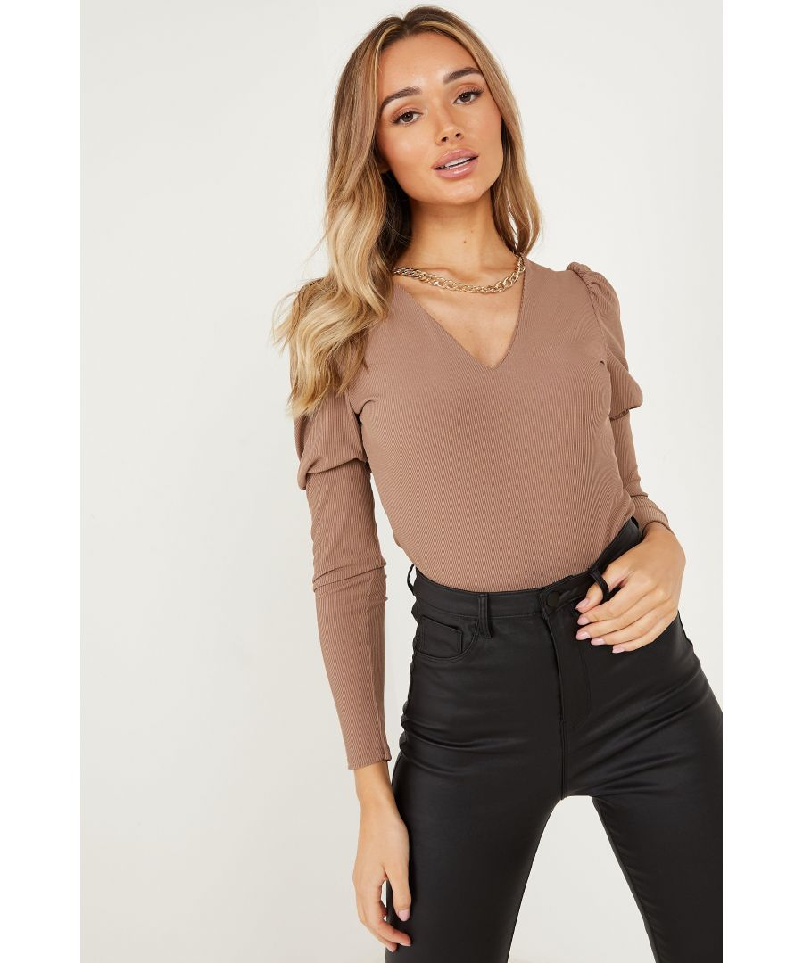 Image for Mocha Ribbed Puff Sleeve Chain Bodysuit