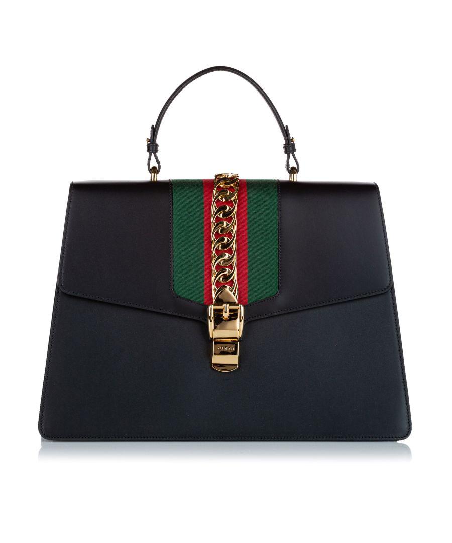 Image for Vintage Gucci Maxi Sylvie Leather Satchel Black