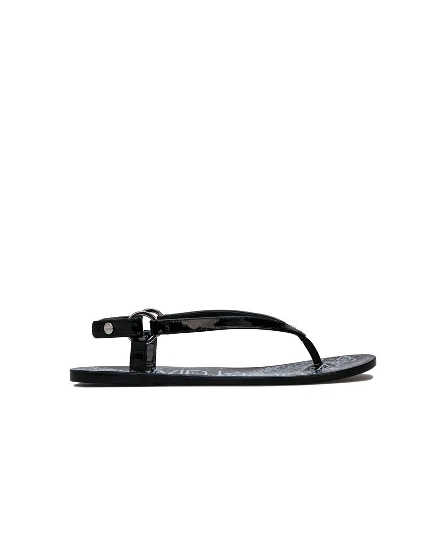 Image for Women's Calvin Klein Julissa Bandana Print Sandals in Black