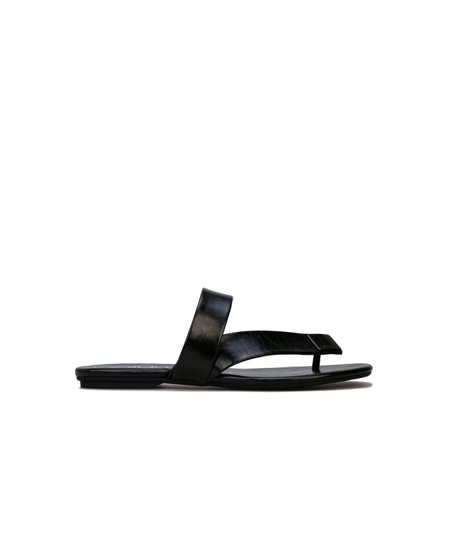 Image for Women's Calvin Klein Saurin Varnished Crackle Sandals in Black