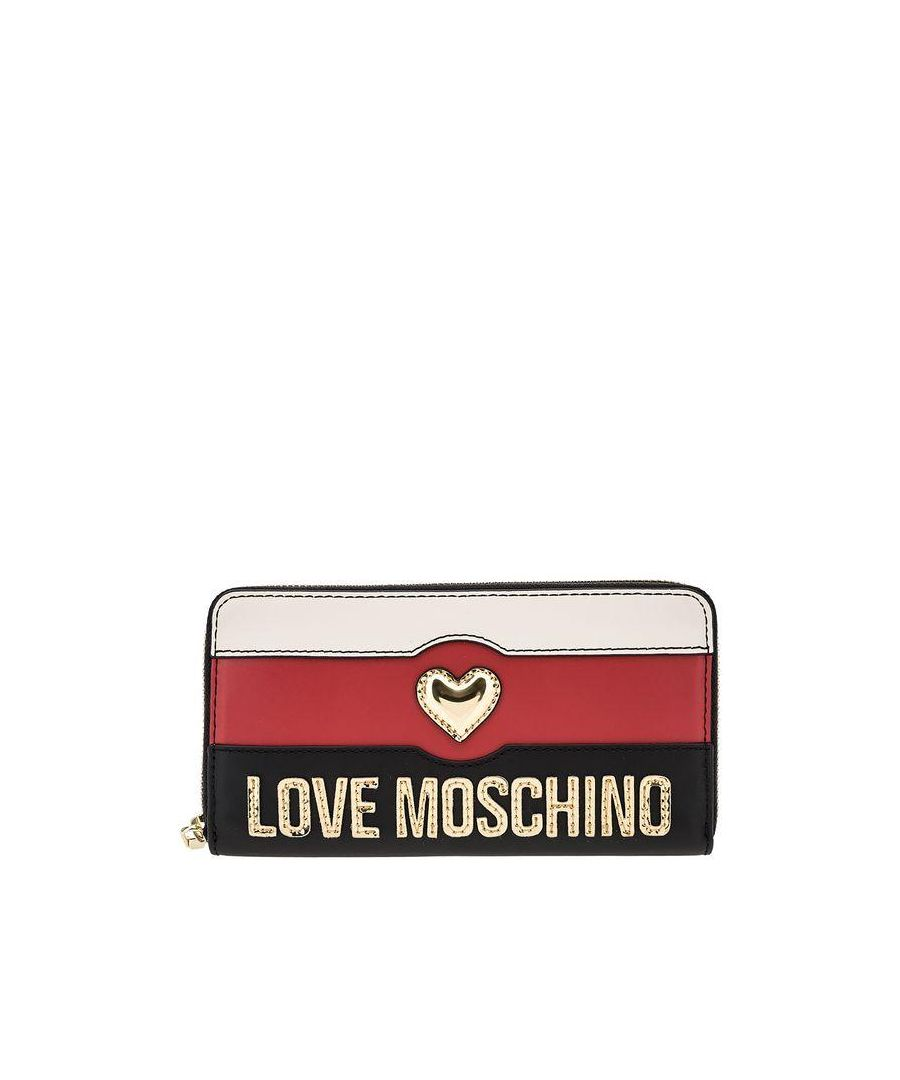 Image for Love Moschino Zip Around Stripped Wallet with Heart in Multicoloured